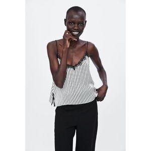 Zara Basic Striped Lingerie Tank Top. Lace & Silk